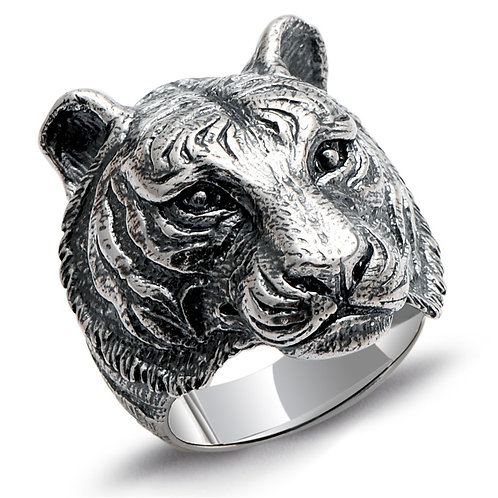 925 sterling silver tiger punk rider ring