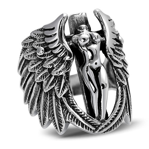 925 sterling silver wing punk rider ring