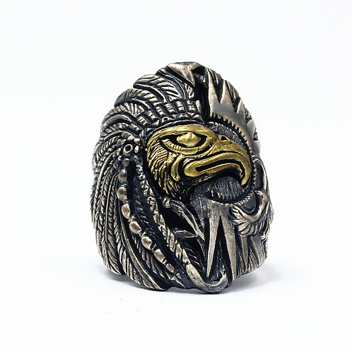 925 sterling silver eagle goth punk ring