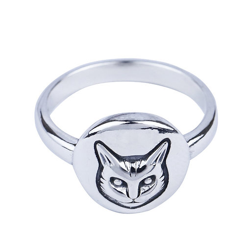 925 sterling silver cat goth punk ring