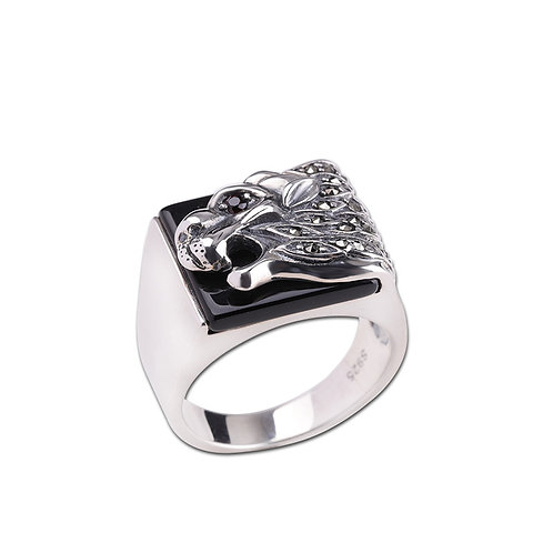 925 sterling silver  iron lion punk rider ring