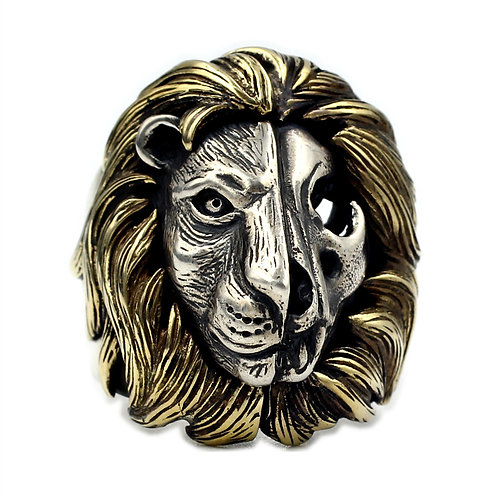 925 sterling silver lion goth punk ring