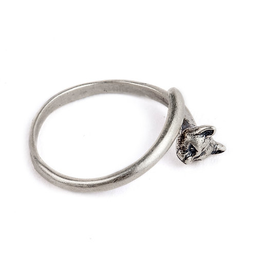 925 sterling silver panther goth punk ring