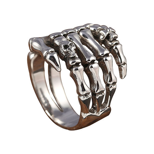 925 sterling silver bone punk rider ring