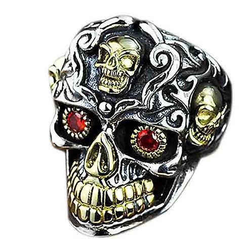 925 sterling silver  iron skull punk rider ring
