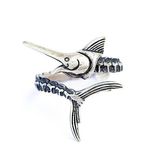 925 sterling silver swordfish goth punk hardcore rider ring