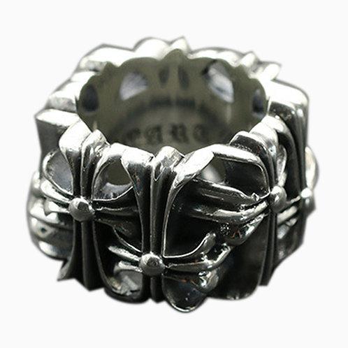 925 sterling silver iron cross goth punk hardcore rider ring