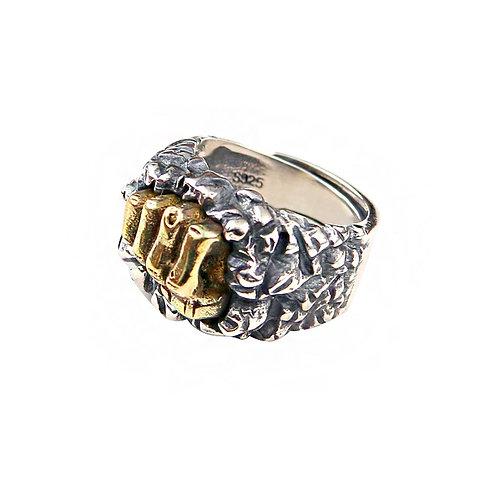 925 sterling silver cross skull punk rider ring