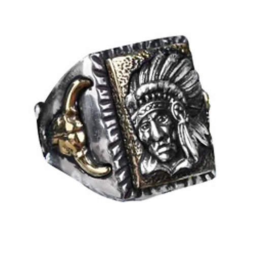 925 sterling silver punk Indian rider ring