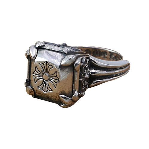 925 sterling silver iron cross punk rider ring