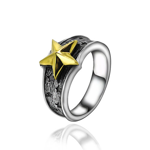 925 sterling goth star punk rider ring