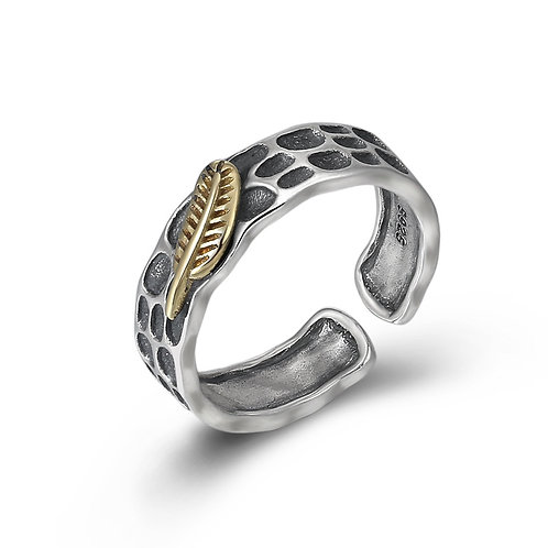 925 sterling silver feather punk rider ring