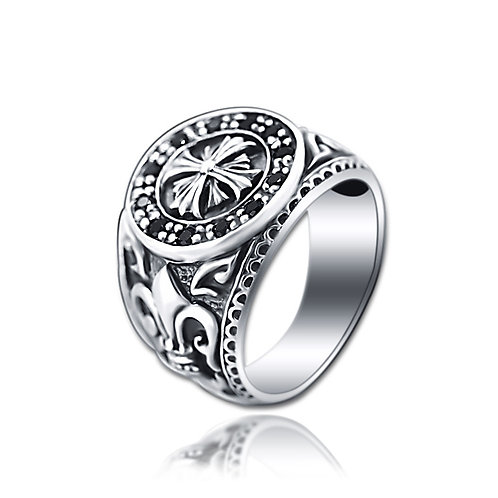 925 sterling silver punk iron cross ring