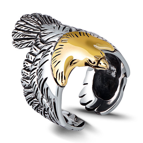 925 sterling iron eagle punk rider ring