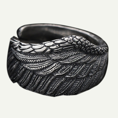 925 sterling silver wing goth punk ring