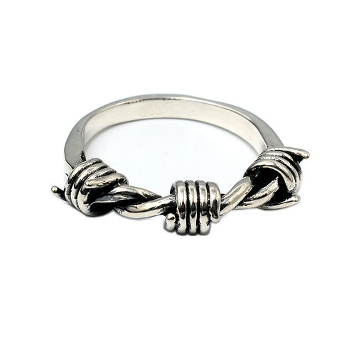 925 sterling silver braided goth punk ring