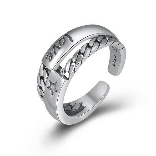 925 sterling silver braided punk rider ring