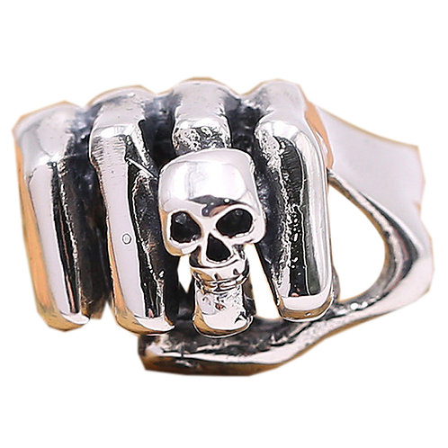 925 sterling silver fist goth punk ring