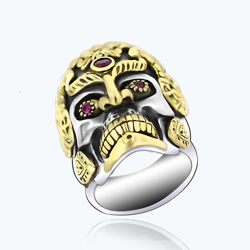 925 sterling silver goth skull punk rider ring
