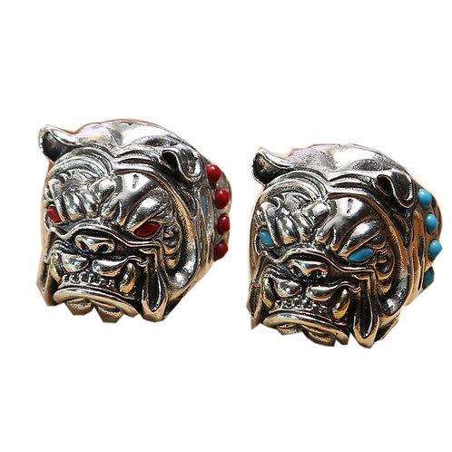 925 sterling silver dog goth punk ring