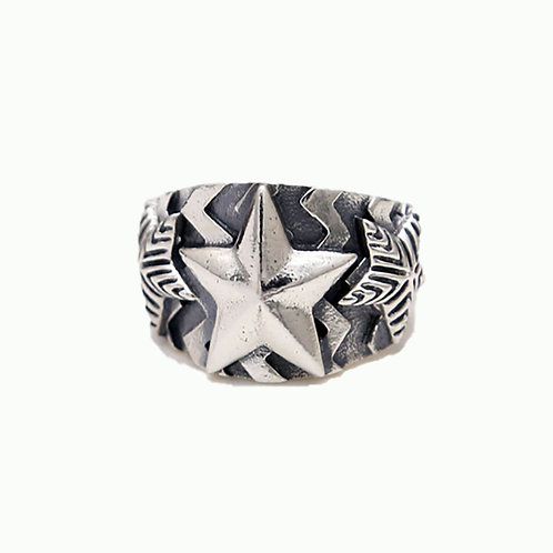925 sterling silver star punk hardcore rider ring
