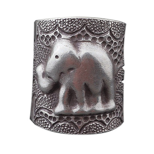 925 sterling silver elephant goth punk ring