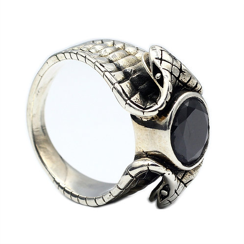 925 sterling silver snake goth punk ring