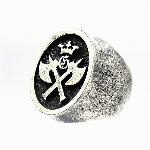 925 sterling silver mask goth punk ring