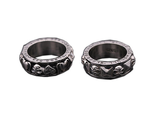 925 sterling silver goth punk couple ring