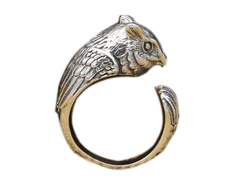 925 sterling silver owl goth punk ring