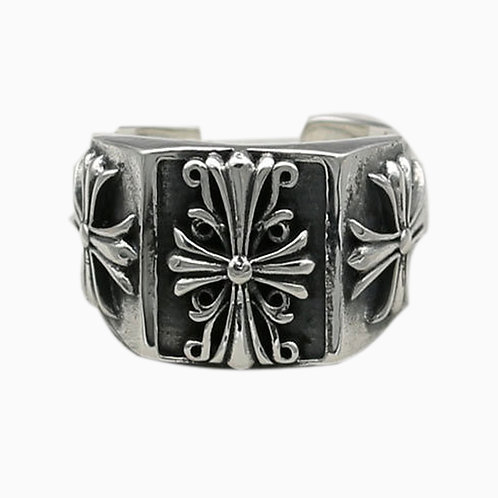 925 sterling silver iron cross goth punk ring
