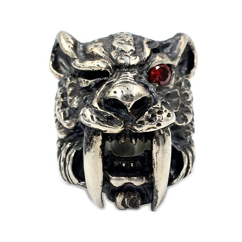 925 sterling silver machairodont goth punk ring
