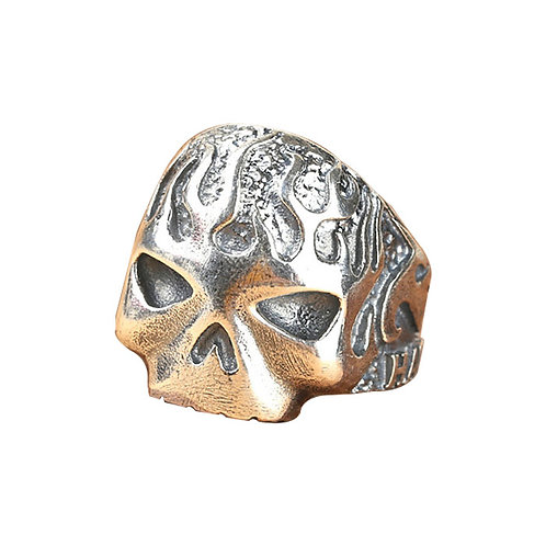 925 sterling silver skull goth punk rider ring