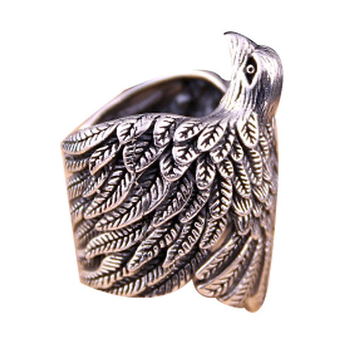 925 sterling silver eagle punk rider ring