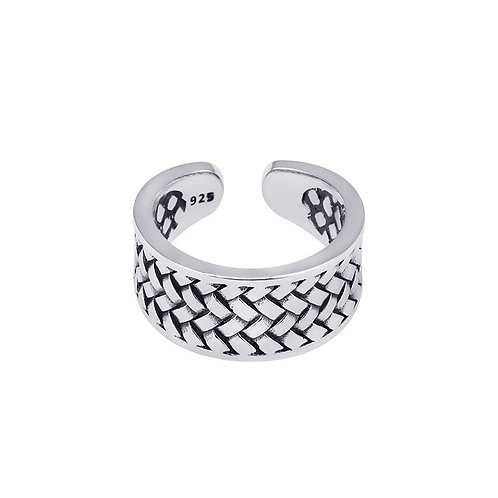 925 sterling silver goth punk braided fashion ring