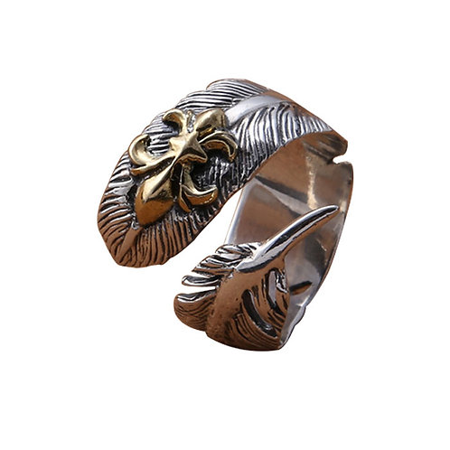 925 sterling silver goth feather punk rider ring