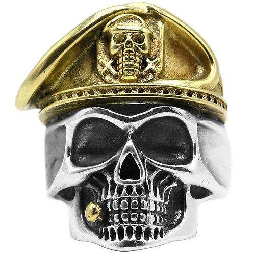 925 sterling iron WW2 suicide squad skull ring