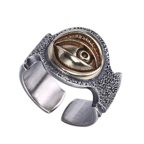 925 sterling silver eye punk rider ring