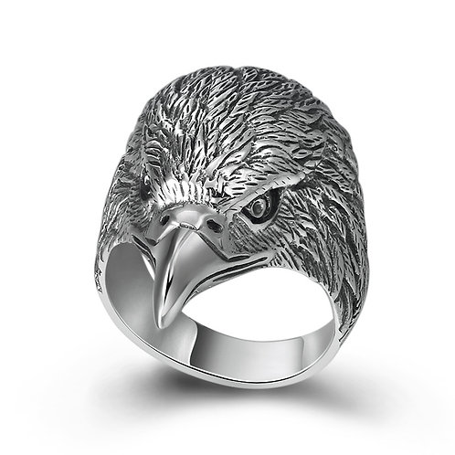 925 sterling silver eagle head  punk rider ring