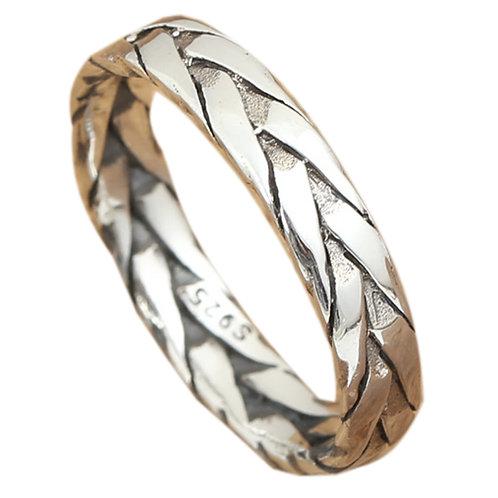 925 sterling silver braided goth punk ring