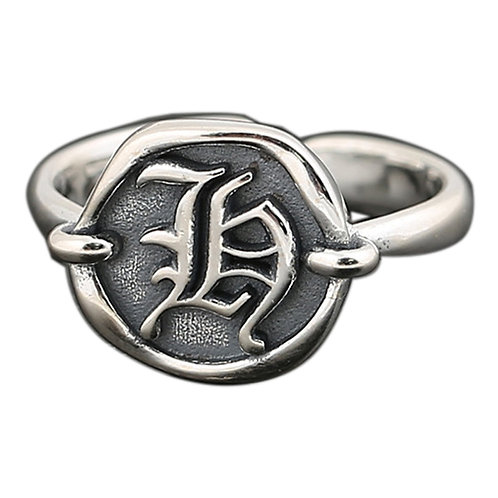 925 sterling silver letter goth punk ring
