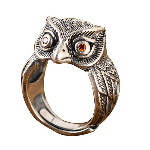 925 sterling silver bird punk rider ring