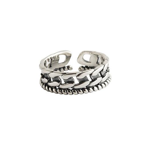 925 sterling silver goth punk braided pierced fashion ring