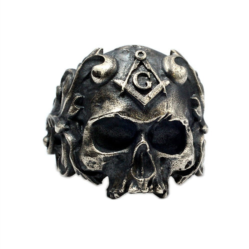 925 sterling silver skull goth punk ring
