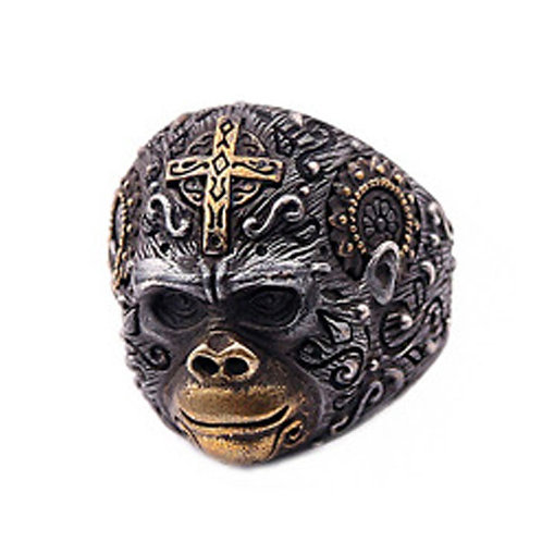925 sterling silver chimpanzee punk rider ring