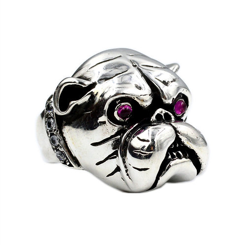 925 sterling silver dog goth punk ring