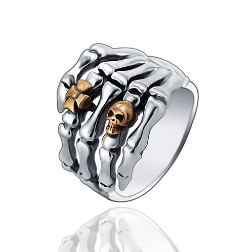 925 sterling iron skull hand bone punk ring