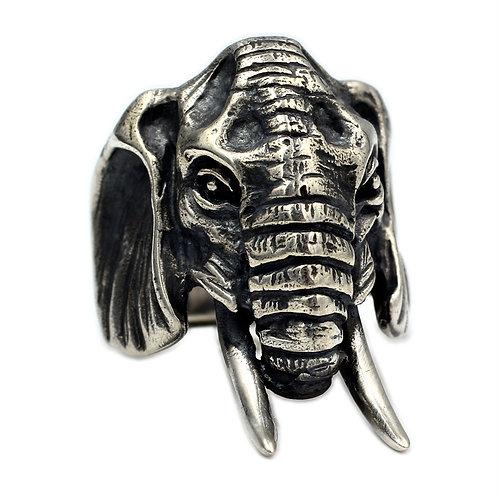 925 sterling silver elephant goth punk ring