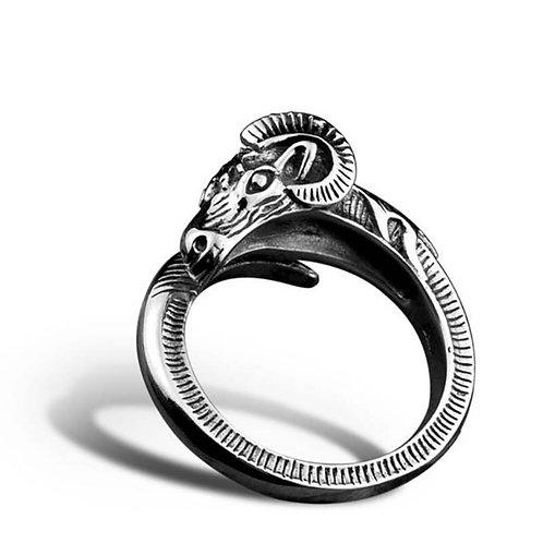 925 sterling silver sheep punk rider ring