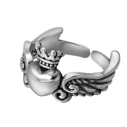 925 sterling silver heart punk fashion ring